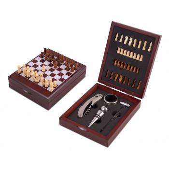 סט אביזרי יין בשילוב לוח וכלי שחמט