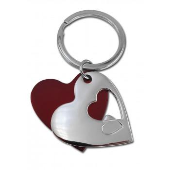 מחזיק מפתחות מתכת לב אדום וניקל
