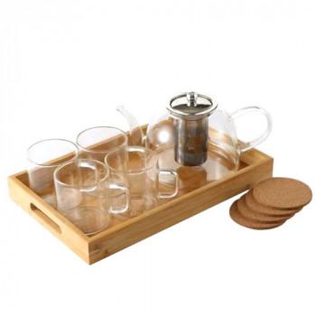 ערכת תה 10 חלקים עם תחתיות שעם וכוסות וקומקום לחליטה, TNY-9775