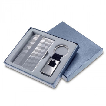 מחזיק מפתחות בית ממתכת וקופסת כרטיסי ביקור