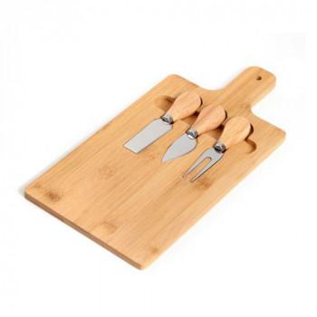 סט 3 סכיני חיתוך לגבינות עם קרש הגשה, TNY-7087