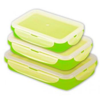 סט של 3 קופסאות אוכל מסיליקון, ניתנות לדחיסה אחרי השימוש, TSM-4300