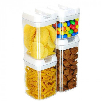 מארז 4 קופסאות אחסון במידות שונות עם סוגר ואקום למטבח,TNY-4243