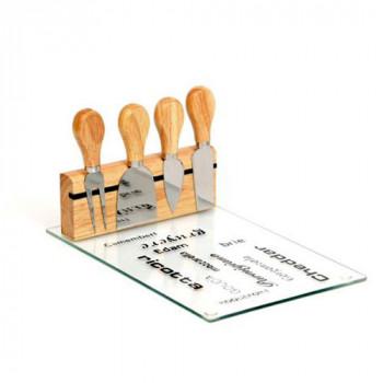 סט 4 סכיני חיתוך לגבינות עם מגש להגשה, TNY-7080