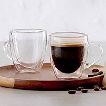 זוג כוסות דופן כפולה לאספרסו עם ידית. קיבולת 100 מל  באריזת מתנה, TNY-8945