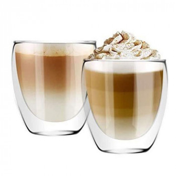 זוג כוסות דופן כפולה לקפה. קיבולת 350 מל  באריזת מתנה, TNY-8940