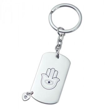 מחזיק מפתחות מתכתי עם חמסה ותליון בצורת לב נוצץ, TSC-1731
