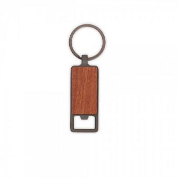 מחזיק מפתחות פותחן בקבוקים עשוי מתכת בשילוב עץ במבוק בחלקו הקדמי, TSK-121123