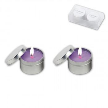 זוג נרות ריחניים בקופסת פח עגולה, TSM-0103