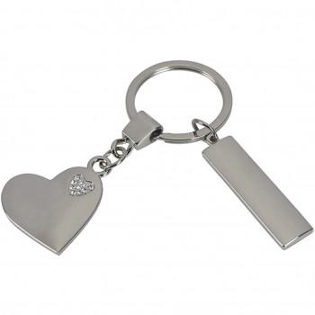 מחזיק מפתחות לב מתכת מבריק עם לב אבני שיבוץ קטן משולב, TZA-4107