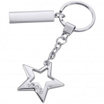 מחזיק מפתחות כסף מבריק עם אבנים משובצות כוכב חלול בתוך כוכב + לוחית, TZA-4662