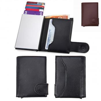 ארנק לכרטיסי אשראי וכסף עם מנגנון שליפה לכרטיסי אשראי