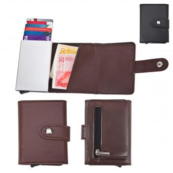 ארנק לכרטיסי אשראי וכסף עם מנגנון שליפת כרטיסים